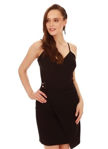 Carmen Askılı Yandan Tokalı Kısa Abiye Elbise Siyah